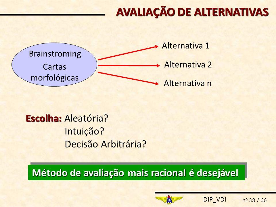 AVALIAÇÃO DE ALTERNATIVAS