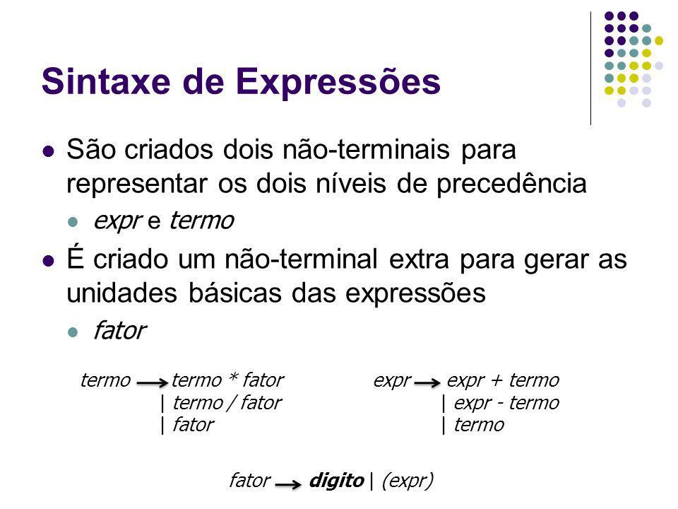 Sintaxe de Expressões São criados dois não-terminais para representar os dois níveis de precedência.