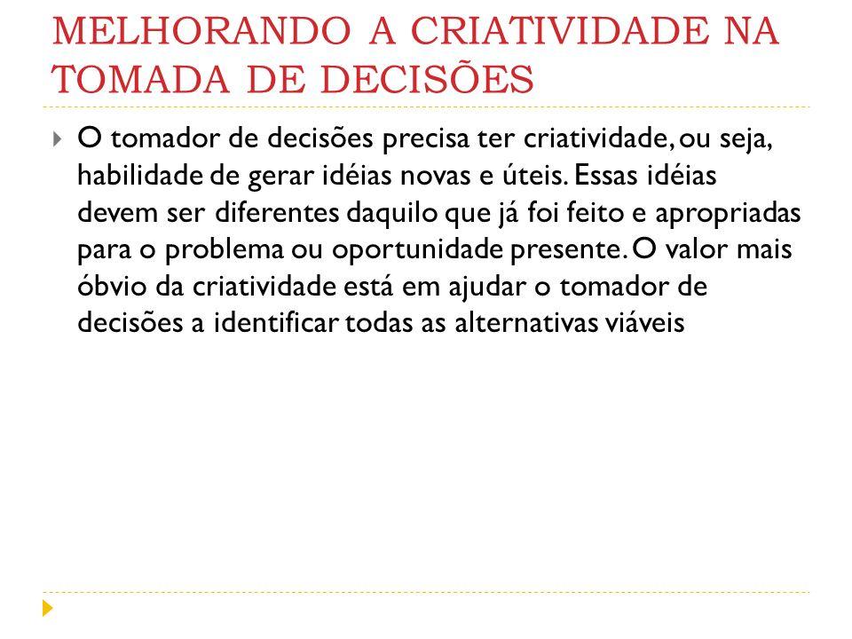MELHORANDO A CRIATIVIDADE NA TOMADA DE DECISÕES