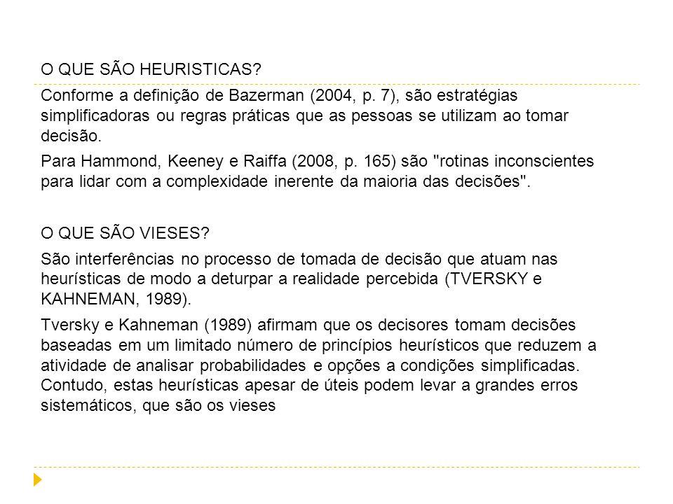 O QUE SÃO HEURISTICAS. Conforme a definição de Bazerman (2004, p