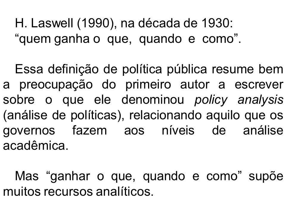H. Laswell (1990), na década de 1930: