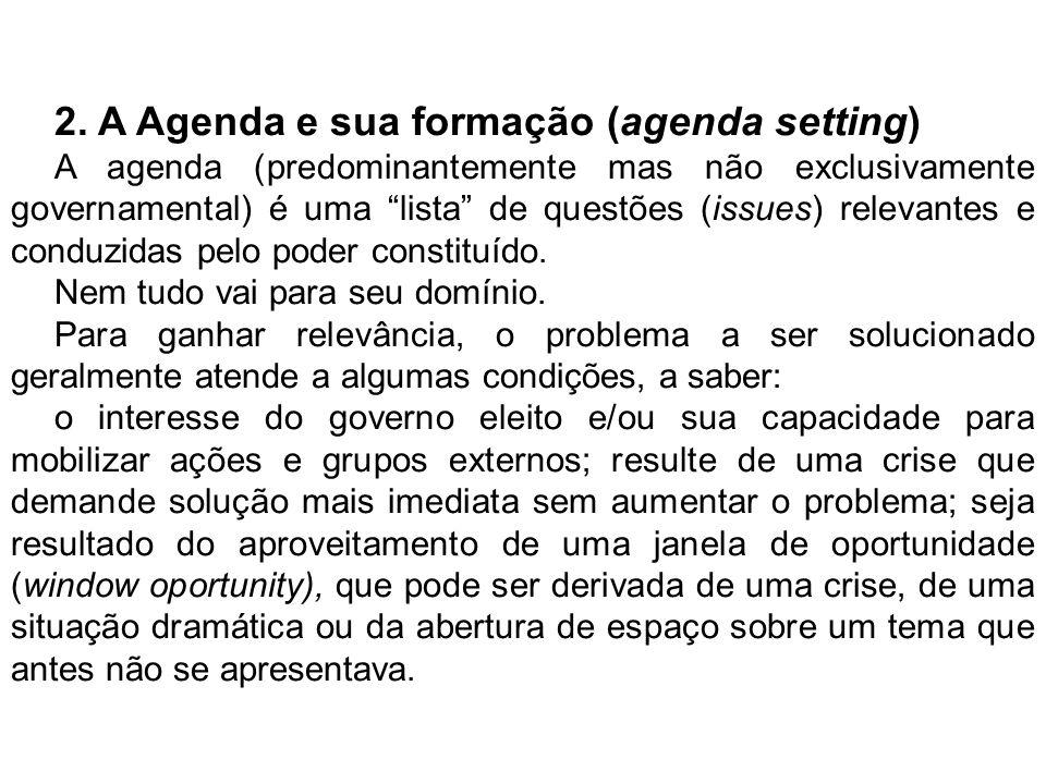 2. A Agenda e sua formação (agenda setting)