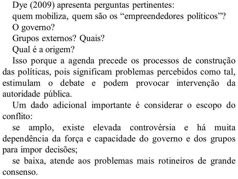 Dye (2009) apresenta perguntas pertinentes:
