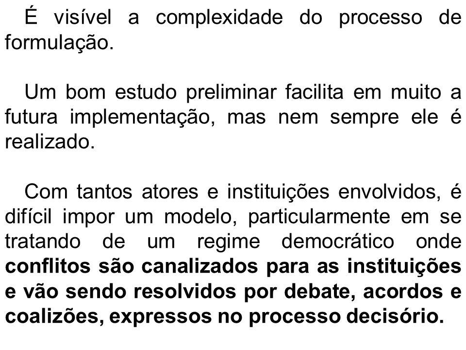É visível a complexidade do processo de formulação.