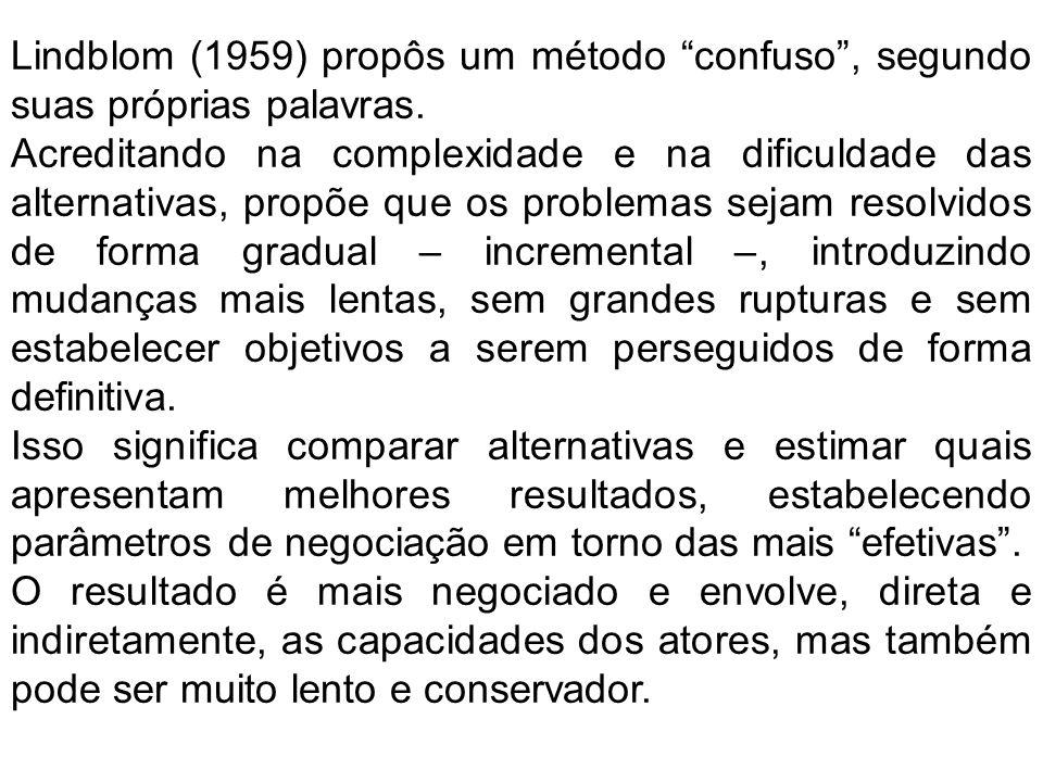 Lindblom (1959) propôs um método confuso , segundo suas próprias palavras.