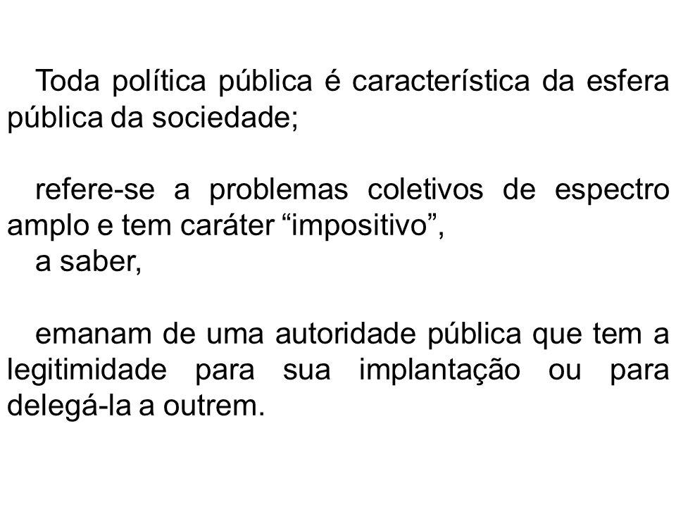 Toda política pública é característica da esfera pública da sociedade;