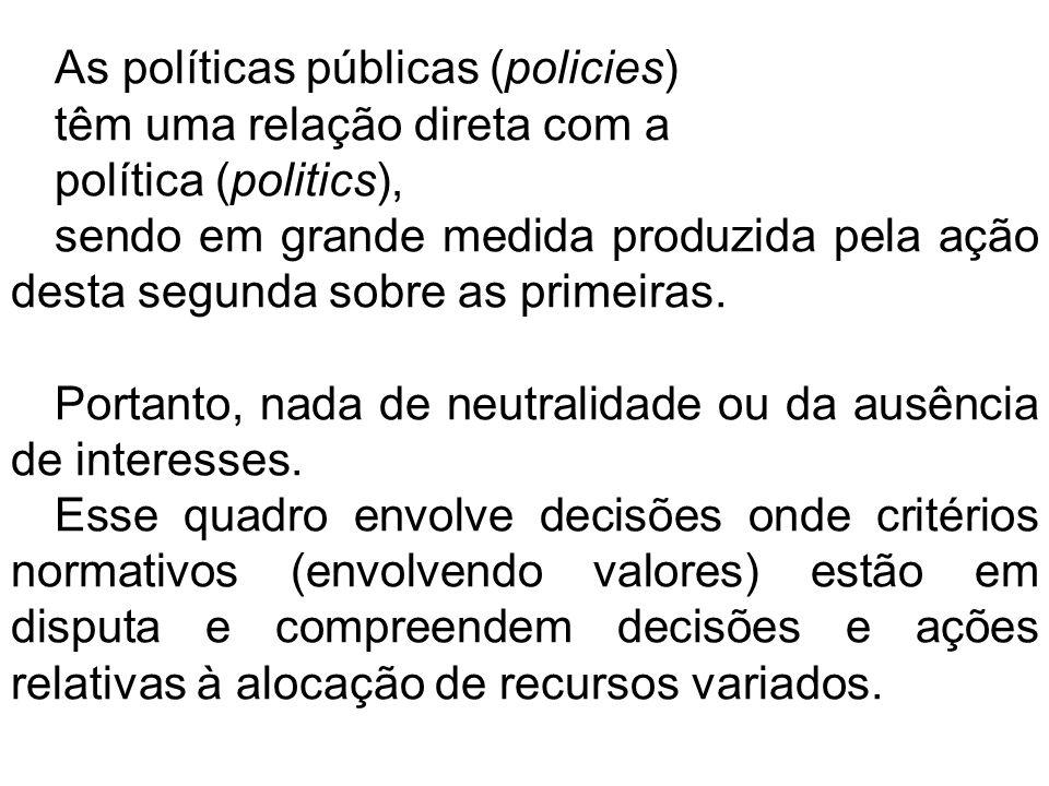 As políticas públicas (policies)