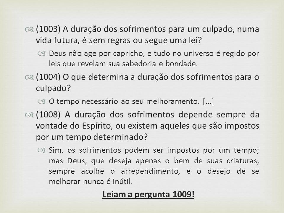 (1004) O que determina a duração dos sofrimentos para o culpado