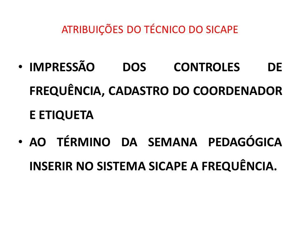 ATRIBUIÇÕES DO TÉCNICO DO SICAPE