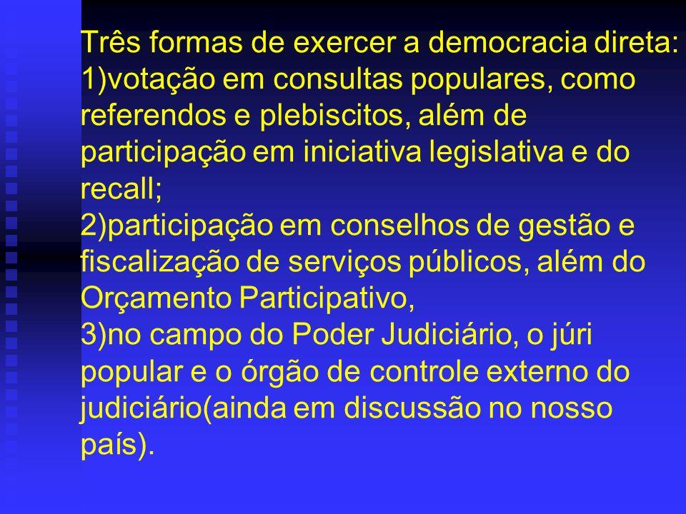 Três formas de exercer a democracia direta: