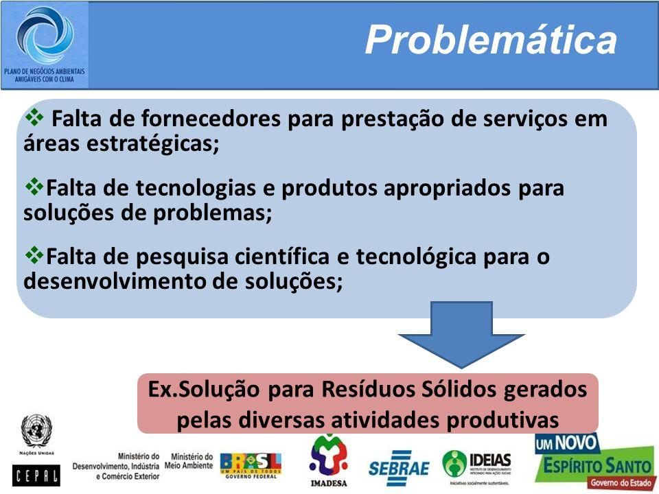 Problemática Falta de fornecedores para prestação de serviços em áreas estratégicas;