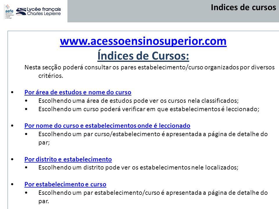 www.acessoensinosuperior.com Índices de Cursos: