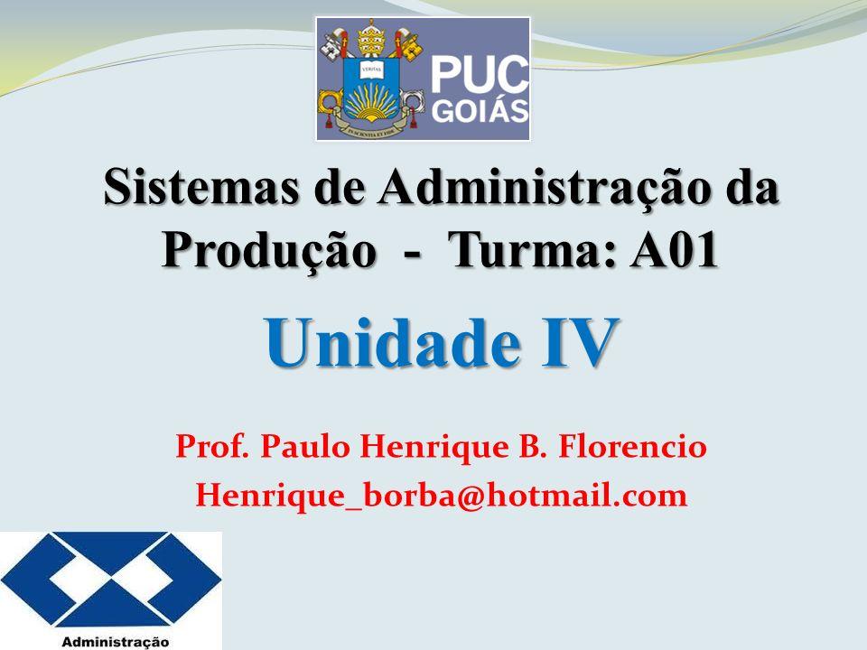 Unidade IV Sistemas de Administração da Produção - Turma: A01