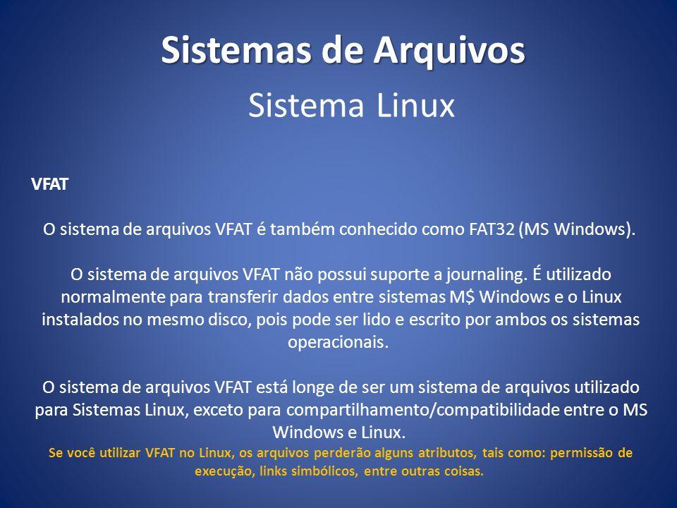 Sistemas de Arquivos Sistema Linux VFAT