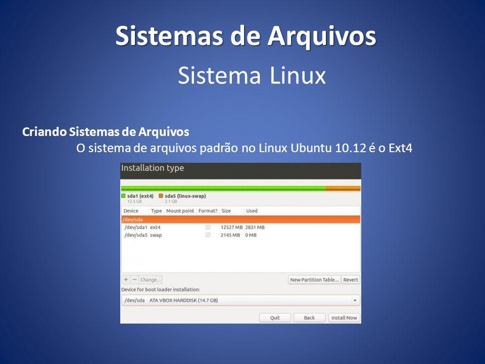 O sistema de arquivos padrão no Linux Ubuntu 10.12 é o Ext4