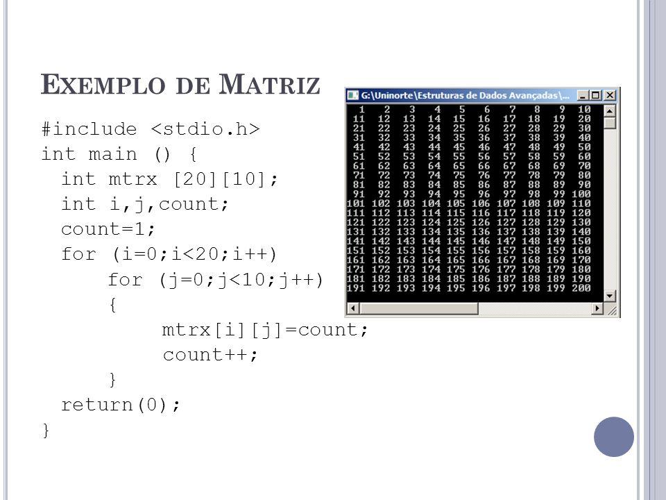 Exemplo de Matriz