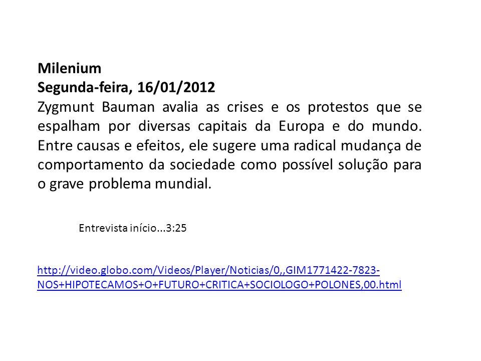 Milenium Segunda-feira, 16/01/2012