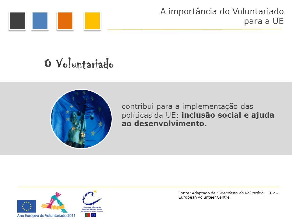 O Voluntariado A importância do Voluntariado para a UE
