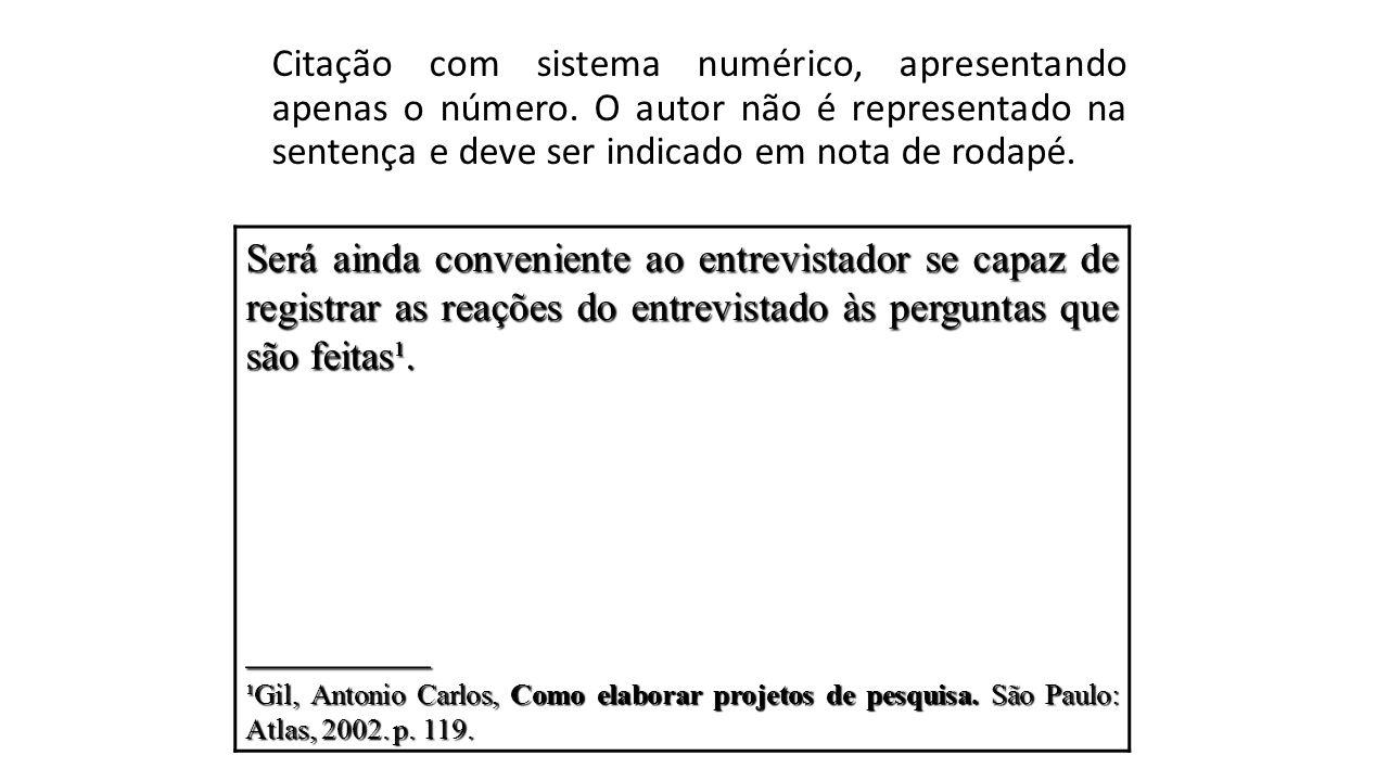 Citação com sistema numérico, apresentando apenas o número