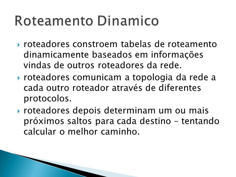 Roteamento Dinamico roteadores constroem tabelas de roteamento dinamicamente baseados em informações vindas de outros roteadores da rede.