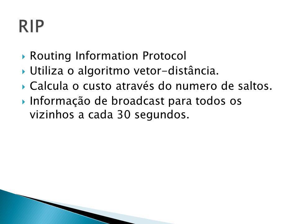 RIP Routing Information Protocol Utiliza o algoritmo vetor-distância.