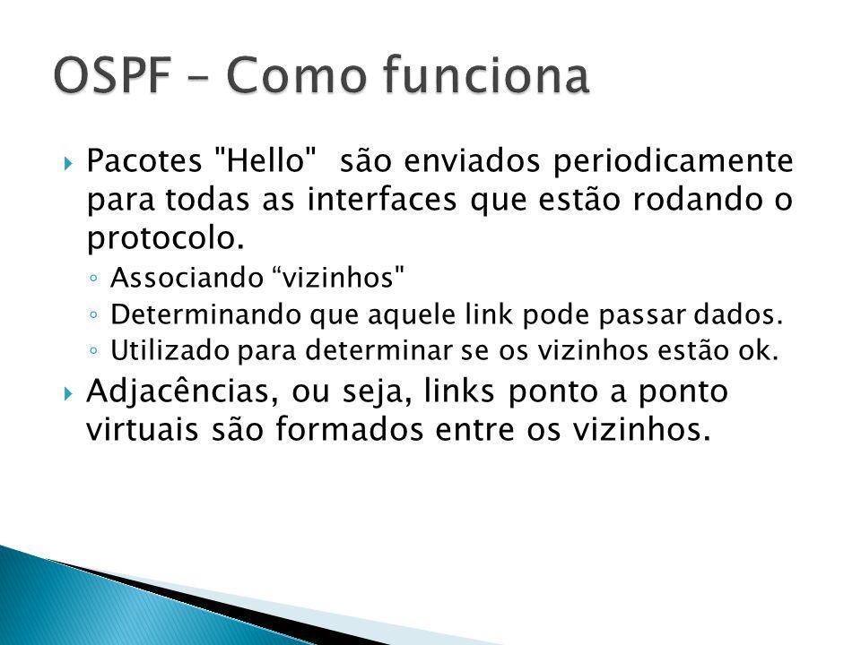 OSPF – Como funciona Pacotes Hello são enviados periodicamente para todas as interfaces que estão rodando o protocolo.