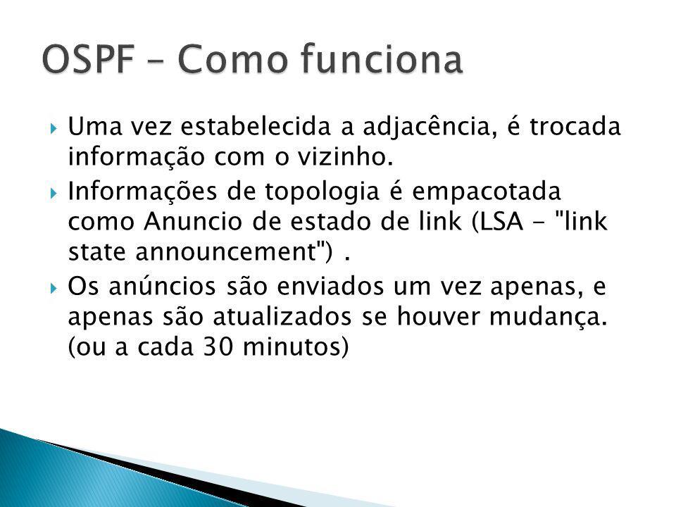 OSPF – Como funciona Uma vez estabelecida a adjacência, é trocada informação com o vizinho.