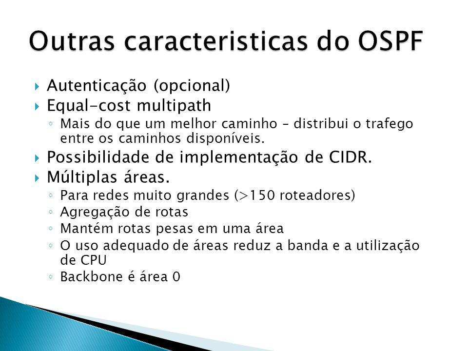 Outras caracteristicas do OSPF