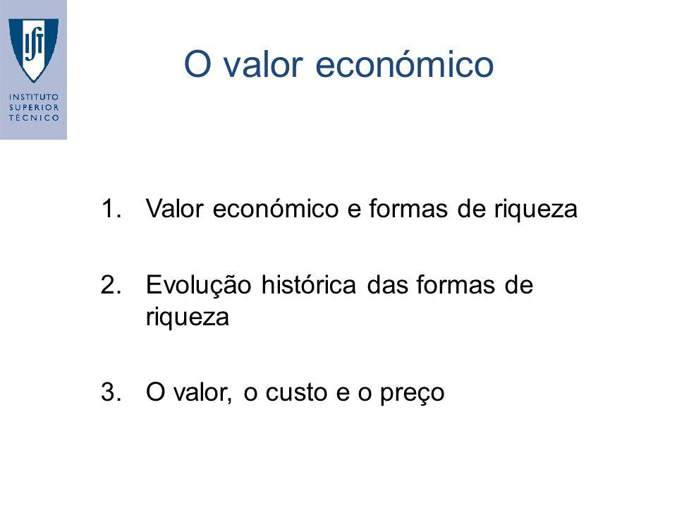 O valor económico Valor económico e formas de riqueza