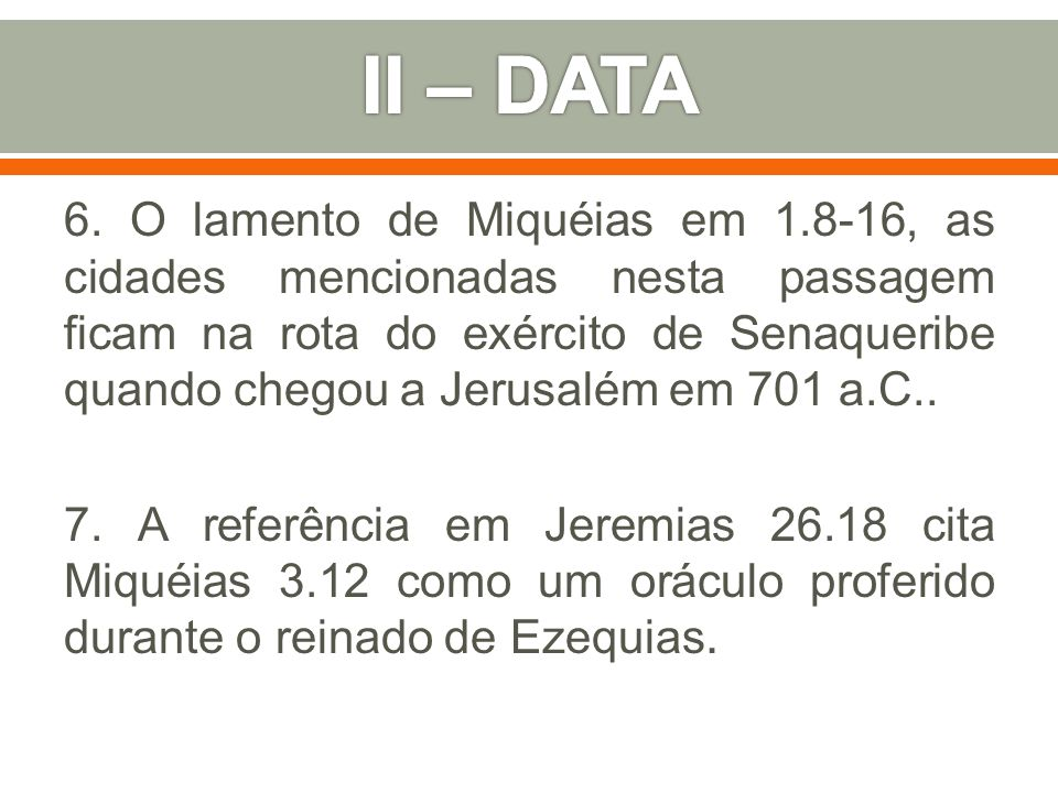 II – DATA