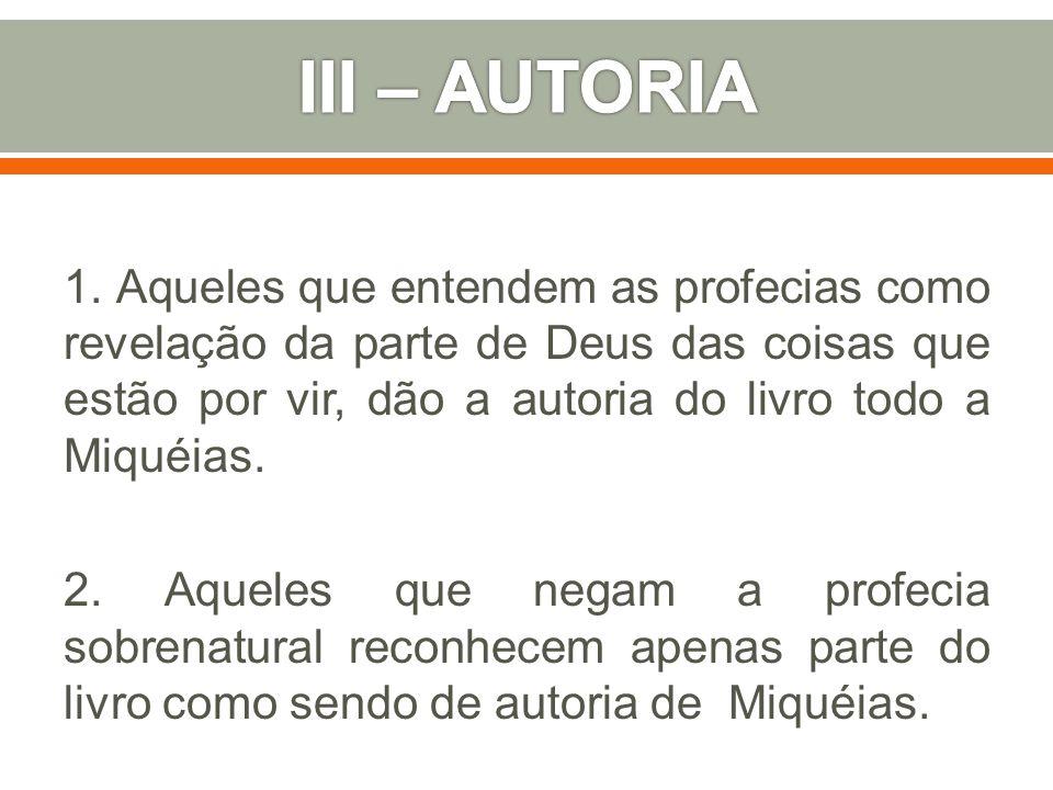 III – AUTORIA