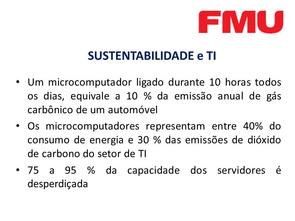 SUSTENTABILIDADE e TI Um microcomputador ligado durante 10 horas todos os dias, equivale a 10 % da emissão anual de gás carbônico de um automóvel.