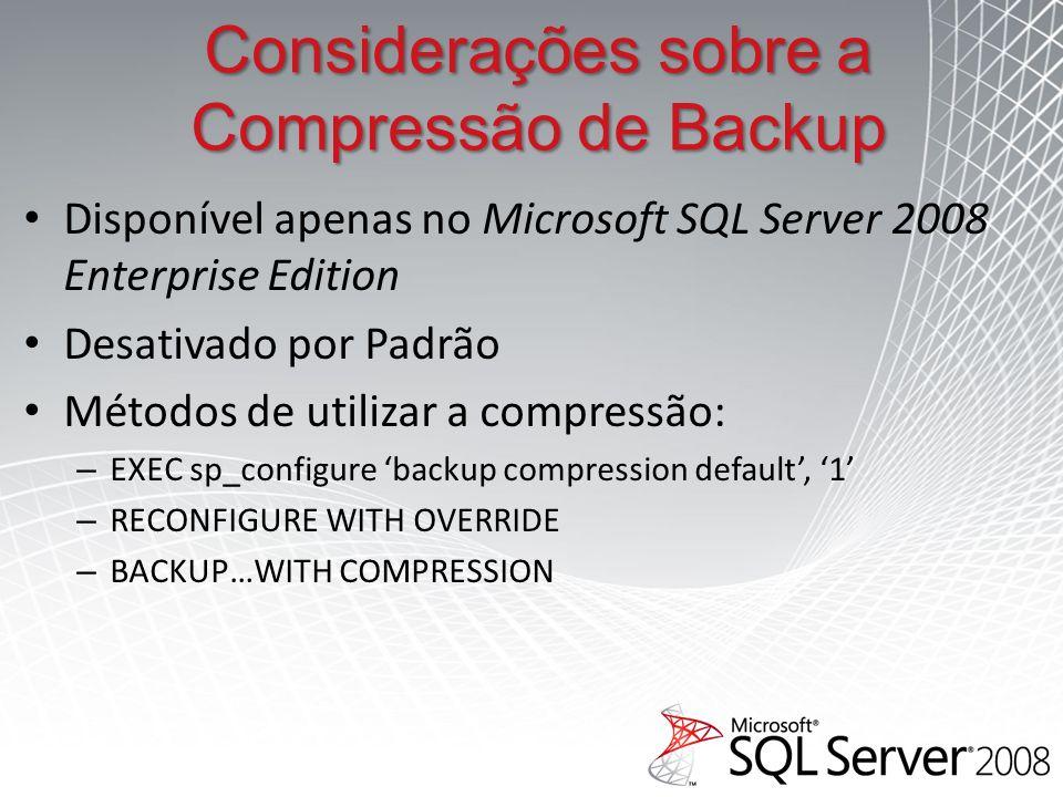 Considerações sobre a Compressão de Backup