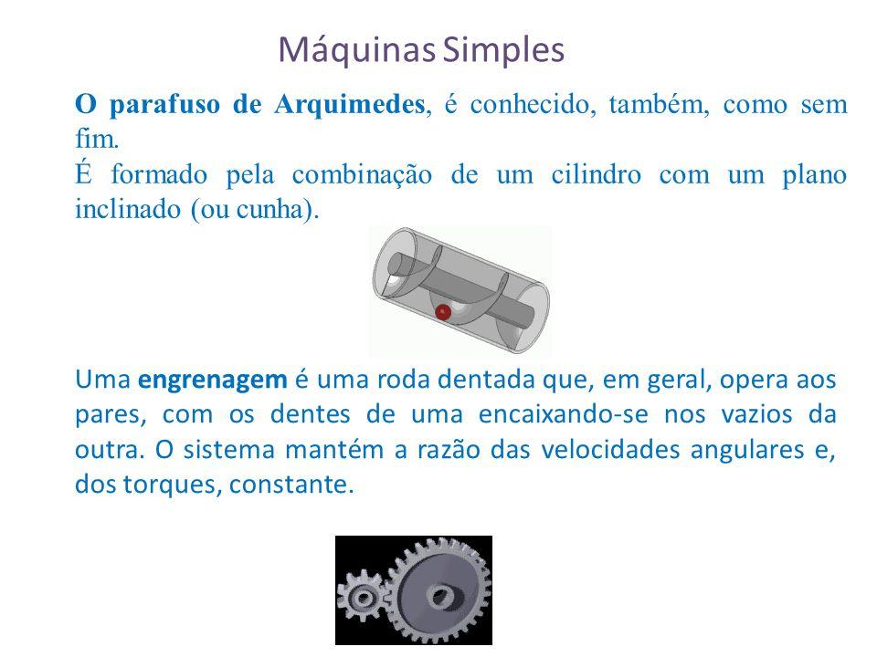 Máquinas Simples O parafuso de Arquimedes, é conhecido, também, como sem fim.