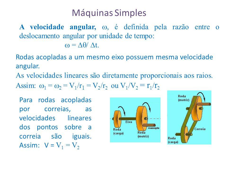 Máquinas Simples A velocidade angular, , é definida pela razão entre o deslocamento angular por unidade de tempo: