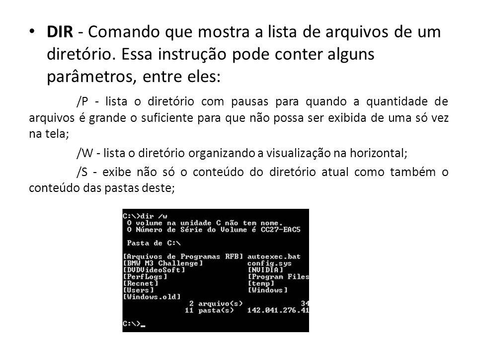 DIR - Comando que mostra a lista de arquivos de um diretório