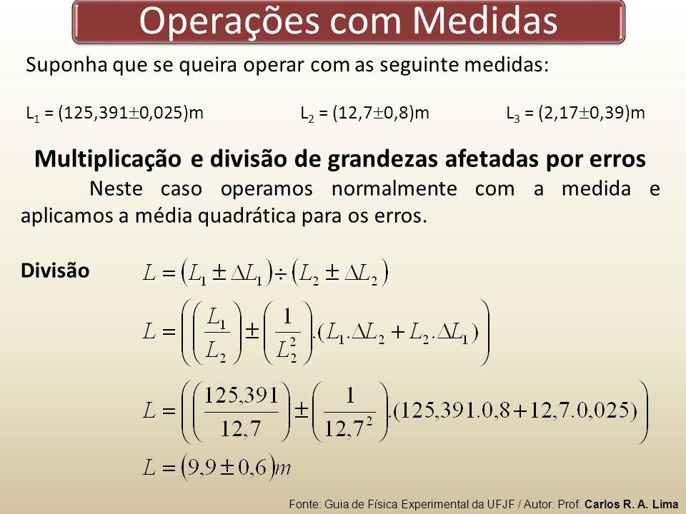 Multiplicação e divisão de grandezas afetadas por erros