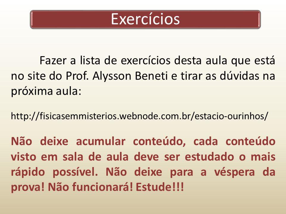 Exercícios Fazer a lista de exercícios desta aula que está no site do Prof. Alysson Beneti e tirar as dúvidas na próxima aula: