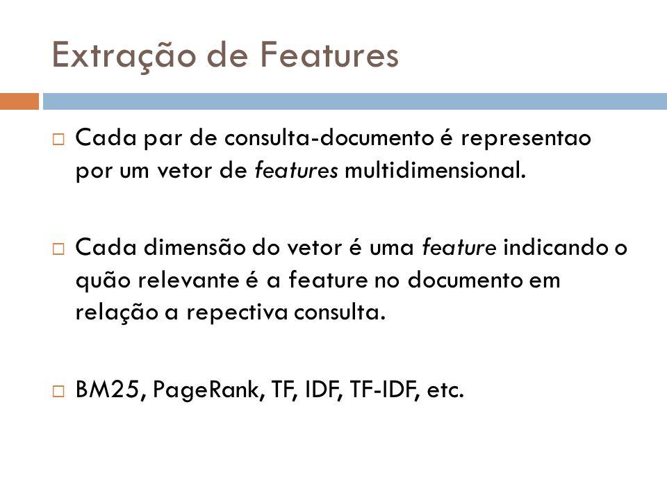 Extração de Features Cada par de consulta-documento é representao por um vetor de features multidimensional.