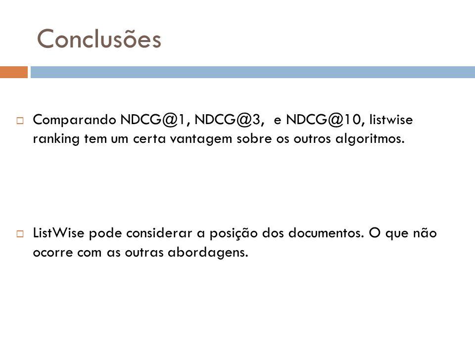 Conclusões Comparando NDCG@1, NDCG@3, e NDCG@10, listwise ranking tem um certa vantagem sobre os outros algoritmos.