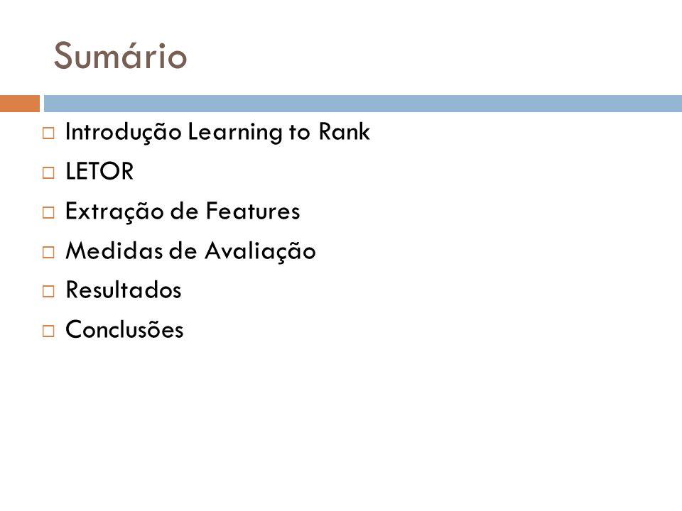 Sumário Introdução Learning to Rank LETOR Extração de Features