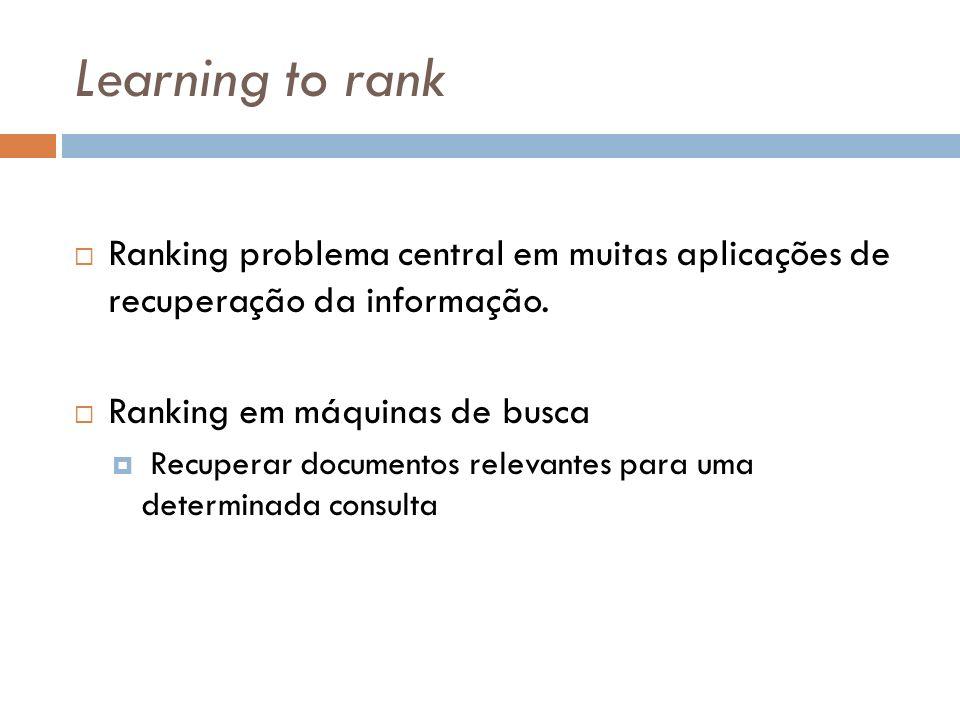 Learning to rank Ranking problema central em muitas aplicações de recuperação da informação. Ranking em máquinas de busca.