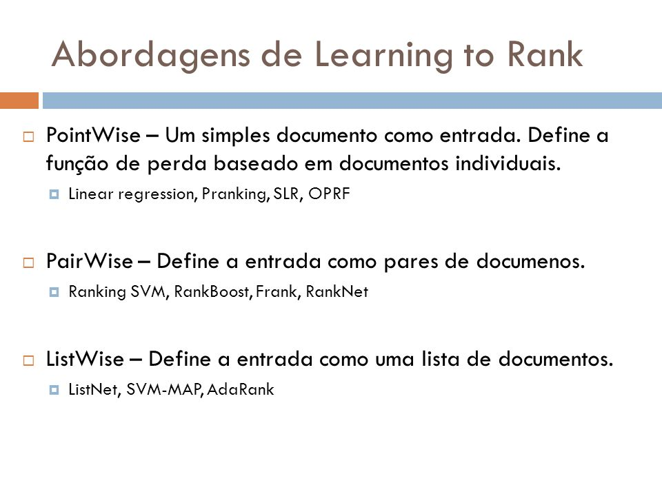 Abordagens de Learning to Rank