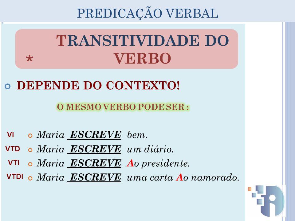 TRANSITIVIDADE DO VERBO