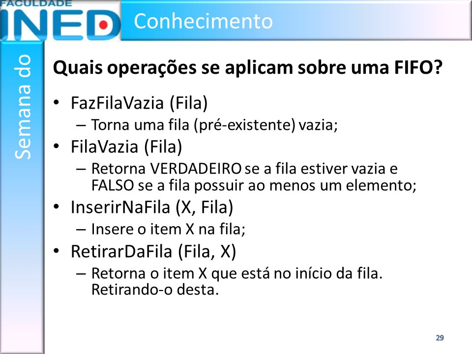 Quais operações se aplicam sobre uma FIFO