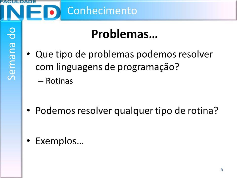 Problemas… Que tipo de problemas podemos resolver com linguagens de programação Rotinas. Podemos resolver qualquer tipo de rotina