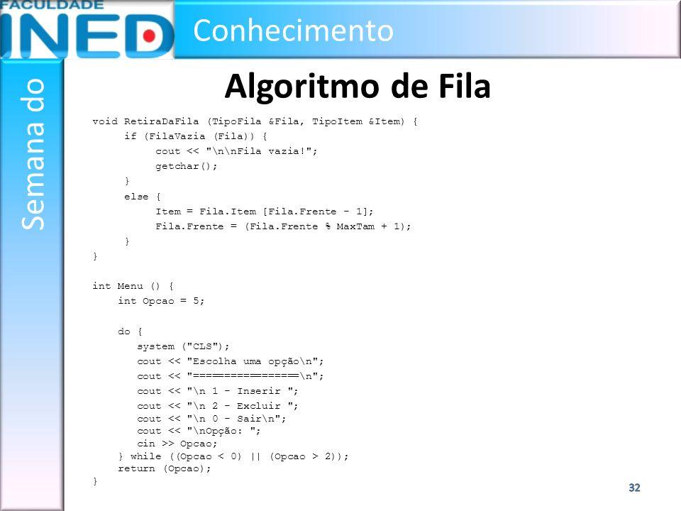 Algoritmo de Fila void RetiraDaFila (TipoFila &Fila, TipoItem &Item) {