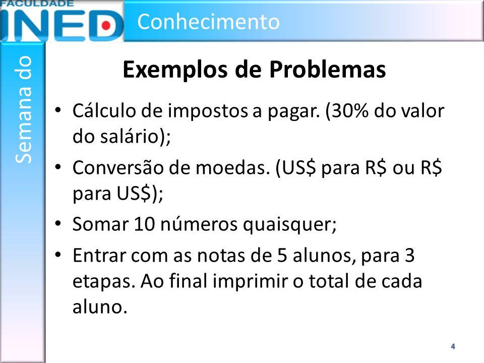 Exemplos de Problemas Cálculo de impostos a pagar. (30% do valor do salário); Conversão de moedas. (US$ para R$ ou R$ para US$);