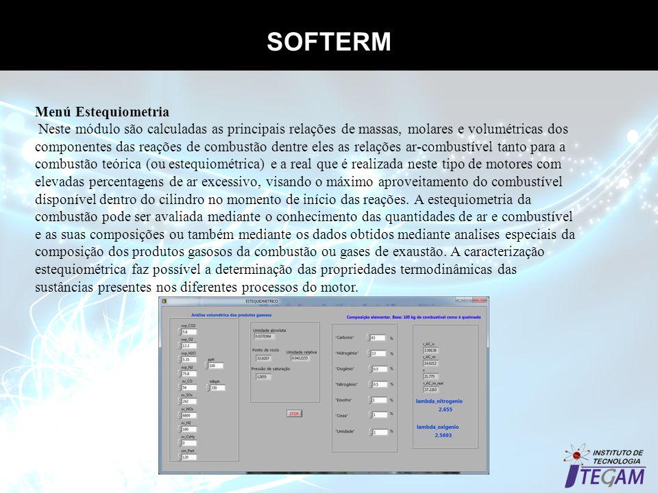 SOFTERM Menú Estequiometria