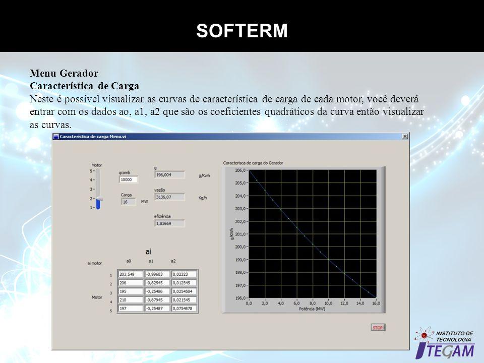 SOFTERM Menu Gerador Característica de Carga